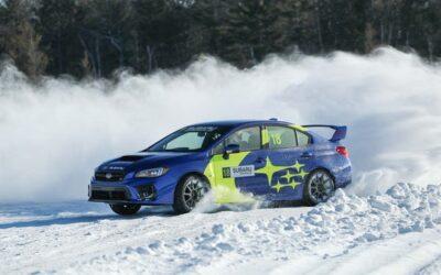 Perfecting the four-wheel drift in a Subaru STI on ice.